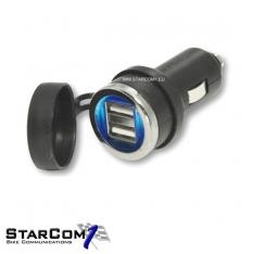 Sigaar adapter naar 2x USB met blauwe ledindicatie vick-0